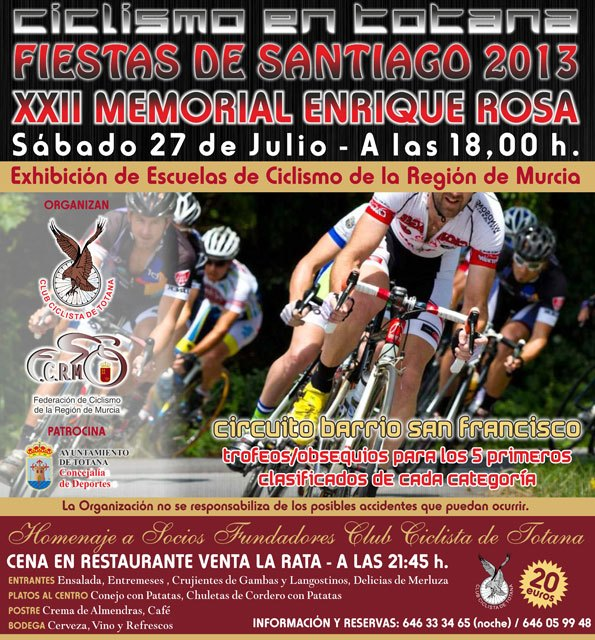 The XXII Enquique Rosa Cycling memorial will be held on July 27, framed in the Fiestas de Santiago 2013