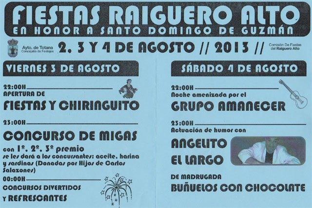 Las fiestas patronales de la pedanía del Raiguero Alto se celebrarán este próximo fin de semana en honor a Santo Domingo de Guzmán - 3, Foto 3