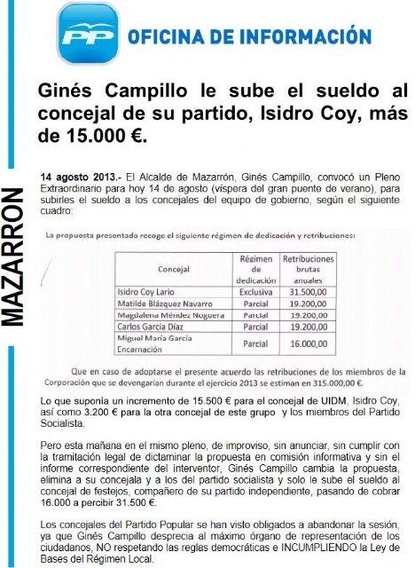 El PP denuncia que Ginés Campillo le sube el sueldo al concejal de su partido, Isidro Coy, más de 15.000 € - 2, Foto 2