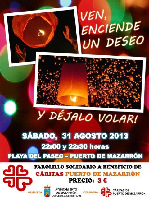 Este sábado 31 se lanzarán farolillos al cielo a beneficio de Cáritas de Puerto de Mazarrón, Foto 1