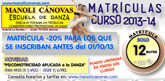 La Escuela de Danza Manoli Cánovas abre plazo de matrícula para el nuevo curso 2013-2014