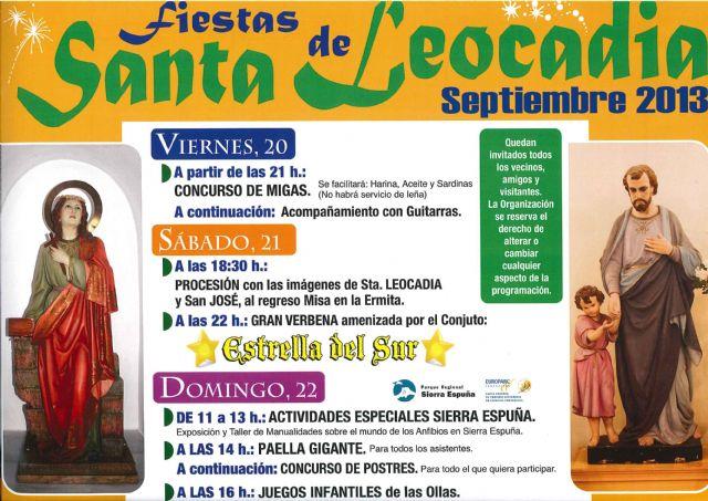 Del 20 al 22 de septiembre se celebran las fiestas de Santa Leocadia con diversas actividades, Foto 1