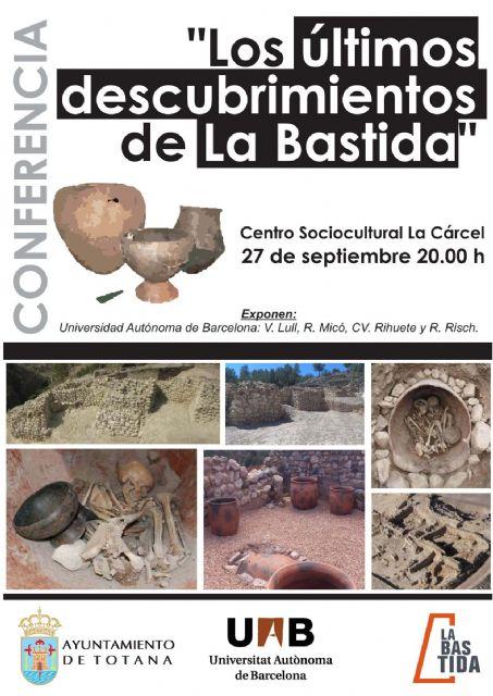 En Centro Sociocultural La Cárcel acogerá la conferencia Los últimos descubrimientos de La Bastida, Foto 1