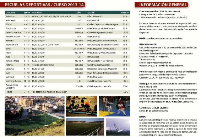 Abierto el plazo de inscripción para las escuelas deportivas municipales 2013 - 2014, Foto 2