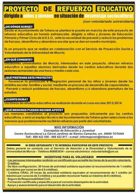 El ayuntamiento vuelven a ofertar el proyecto de Refuerzo Educativo en Totana para el curso 2013/14, Foto 2