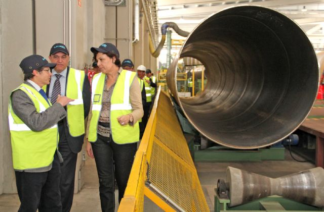 La alcaldesa de Puerto Lumbreras y el alcalde de Lorca visitan las instalaciones de la Factoría multinacional de metalurgia Noksel junto al director general de Acuamed - 1, Foto 1