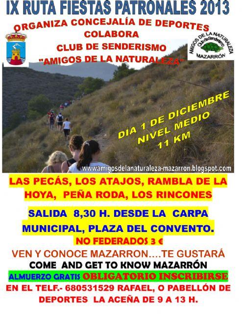 Este domingo 1 de diciembre se celebra la IX Ruta Senderista de las Fiestas Patronales, Foto 1