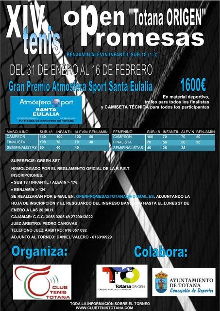 "El Club Tenis Totana se prepara para su Open Promesas de Tenis ""TOTANA ORIGEN"""