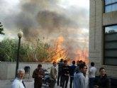Un incendio de cañizo en la parte trasera de la UCAM provoca el desalojo del aulario