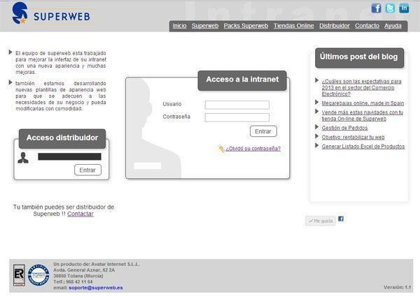 La web es completamente administrable desde un sencillo Panel de Control, Foto 2