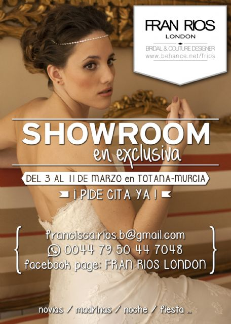 "Designer ""FRAN LONDON RIVER"" is from 3 to 11 March in Totana to offer a private showroom for all those interested"