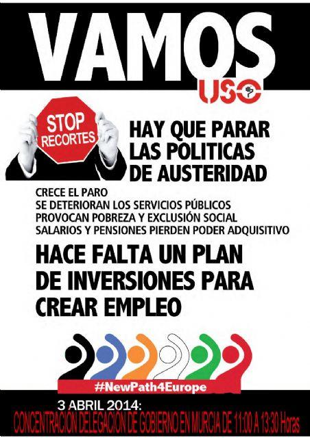 USO llama a la participación en la concentración del día 3 de abril ante la Delegación del Gobierno - 1, Foto 1