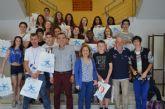 Recepción en el Ayuntamiento de un grupo de estudiantes franceses que se encuentran de intercambio con alumnos del IES 'Mar Menor'
