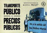La UJCE en Molina de Segura protesta ante la injustificada subida del transporte público
