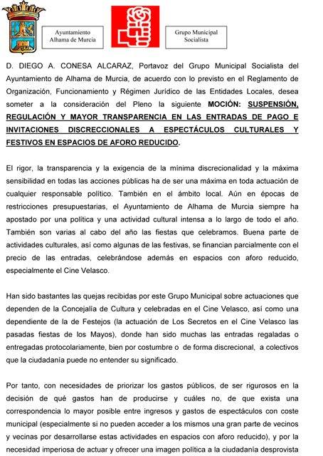El PSOE de Alhama presenta una moción solicitando una regulación transparente en las entradas de protocolo, Foto 1