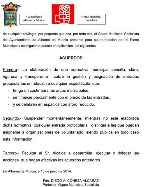 El PSOE de Alhama presenta una moción solicitando una regulación transparente en las entradas de protocolo, Foto 2