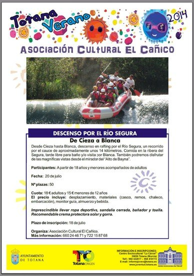 """The Cultural Association """"Canico"""" organizes a day to enjoy white-water rafting on the River Segura"""