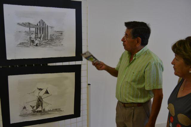 El pintor Marcelino Menéndez recrea escenas de la historia pinatarense en la exposición Blanco y Negro - 2, Foto 2