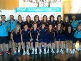 Las jugadoras del Roldan FSF, Marta Peñalver y Mayte Mateo, con la selección española en el Campeonato Universitario Mundial de Fútbol Sala