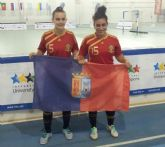 Las jugadoras del Roldan FSF, Marta Peñalver y Mayte Mateo, subcampeonas con la selección española en el Campeonato Universitario Mundial de Fútbol Sala