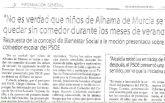 Se confirma lo que denunci� el PSOE: NO habr� comedores escolares en agosto ni septiembre para 20 niños de 10 familias de Alhama