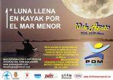 Santiago de la Ribera acoge la I Luna Llena en Kayak por el Mar Menor el domingo 10 de agosto