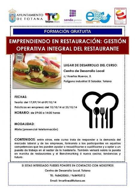 El Centro de Desarrollo Local, en el marco del Plan de Empleo, realiza un curso gratuito sobre gesti�n operativa integral del restaurante, Foto 1