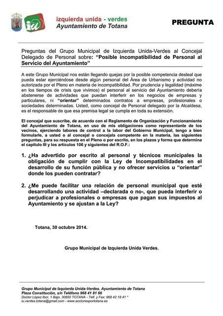 """Preguntas del Grupo Municipal de Izquierda Unida-Verdes al Concejal Delegado de Personal sobre: """"Posible incompatibilidad de Personal al Servicio del Ayuntamiento"""", Foto 2"""