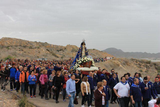 Miles de personas acompañan a la Virgen del Milagro hasta su santuario en Bolnuevo - 3, Foto 3