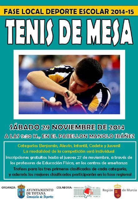 La Concejalía de Deportes organiza el próximo sábado 29 de noviembre la Fase Local de Tenis de Mesa de Deporte Escolar
