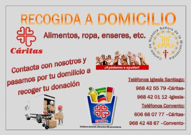 Se pone en marcha un nuevo servicio en Totana de recogida a domicilio de alimentos, ropa, enseres, etc. a beneficio de C�ritas, Foto 1