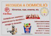 Se pone en marcha un nuevo servicio en Totana de recogida a domicilio de alimentos, ropa, enseres, etc. a beneficio de Cáritas