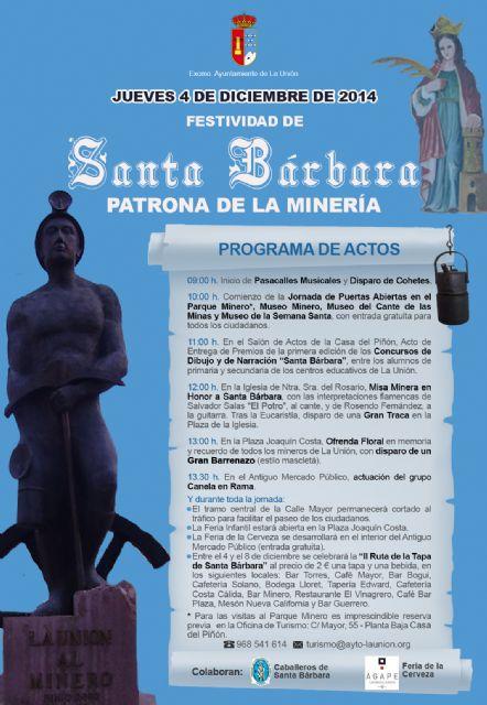 Mañana se celebra Santa Bárbara en La Unión, patrona de la minería - 1, Foto 1
