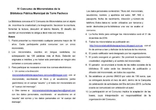 La Biblioteca de Torre-Pacheco convoca el IV Concurso de Microrrelatos - 2, Foto 2