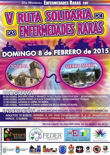 The February 8 V will be the route for Rare Diseases between Totana and Sierra de María