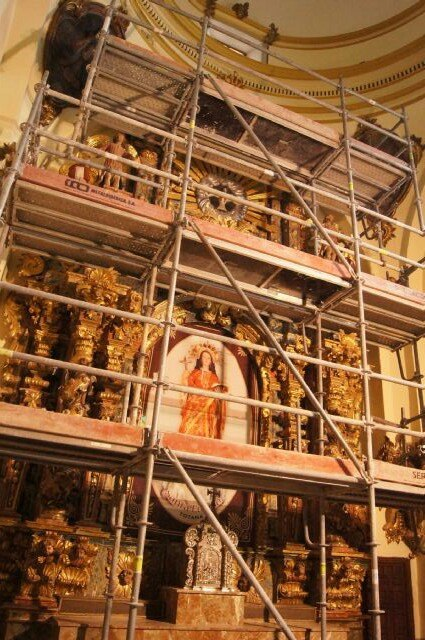 Comienzan las obras de la restauración del Retablo Mayor del Santuario de Santa Eulalia - 2, Foto 2
