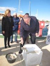 Bernabé pone la primera piedra de las obras de ampliación del puerto de Lo Pagán, que ganará 138 amarres