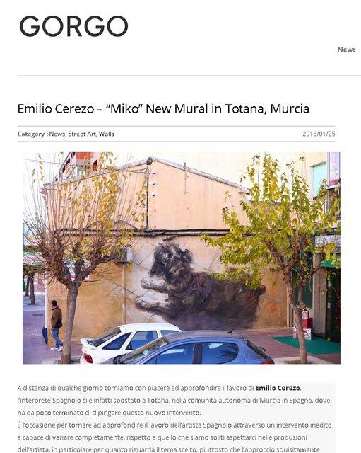 """La obra mural """"Miko"""" de Cl�nica Veterinaria Dogo, realizada por el joven artista totanero Emilio Cerezo, protagonista en una publicaci�n italiana, Foto 1"""