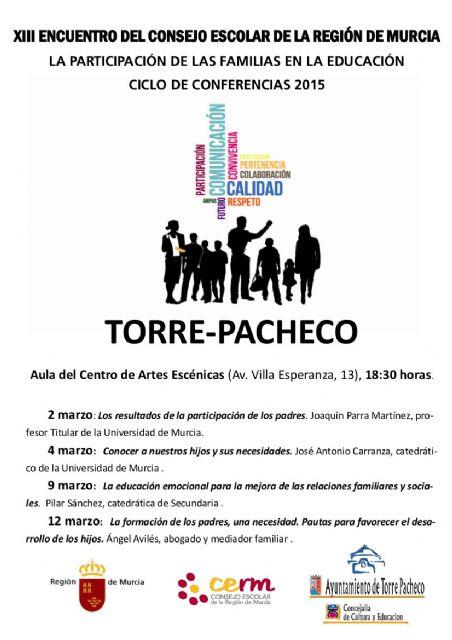 El Consejo Escolar Regional celebrará varias conferencias en Torre-Pacheco - 1, Foto 1