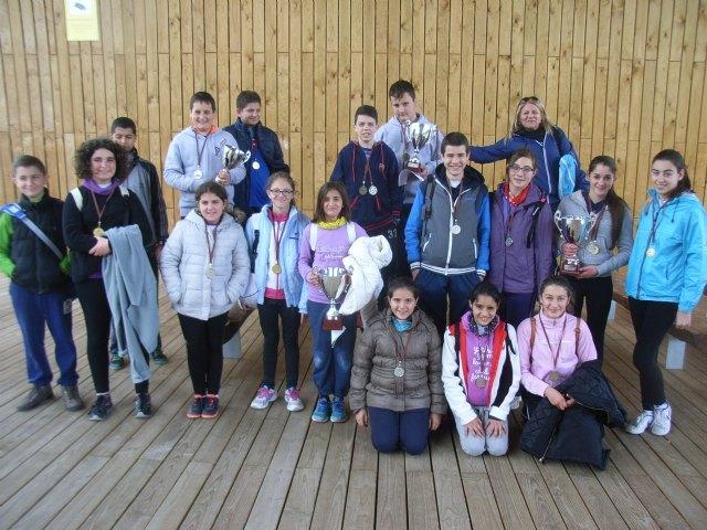 Los centros de enseñanza de La Cruz, La Milagrosa, Reina Sofía y Guadalentín, campeones regionales de orientación en la naturaleza, en la final regional de Deporte Escolar