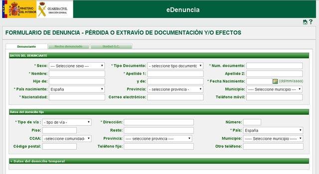 La Guardia Civil pone en marcha el sistema de denuncias vía internet