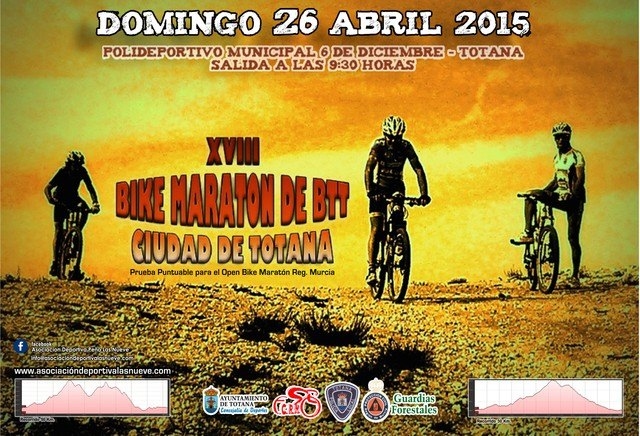 The eighteenth Bike Totana City Marathon will take place on Sunday April 26