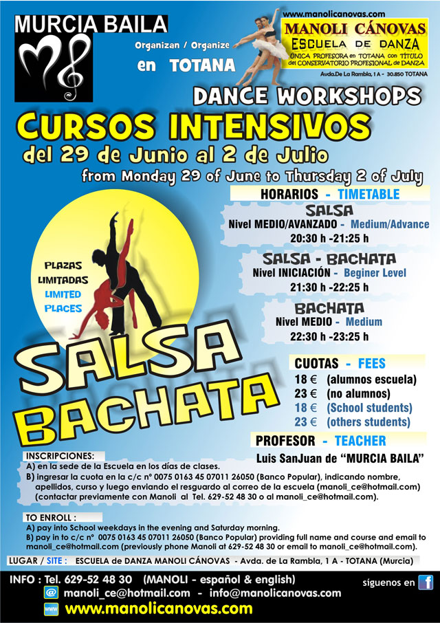 Murcia Dance and School of Dance Manoli Canovas organize intensive salsa and bachata in Totana, Foto 1