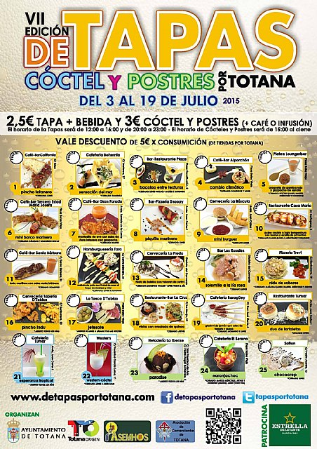 La VII Ruta de Tapas, C�ctel y Postres de Totana se celebrar� del 3 al 19 de julio, Foto 2