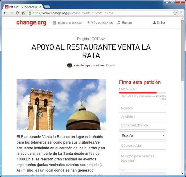 Lanzan una campaña de recogida de firmas en change.org en apoyo al Restaurante Venta la Rata, Foto 1