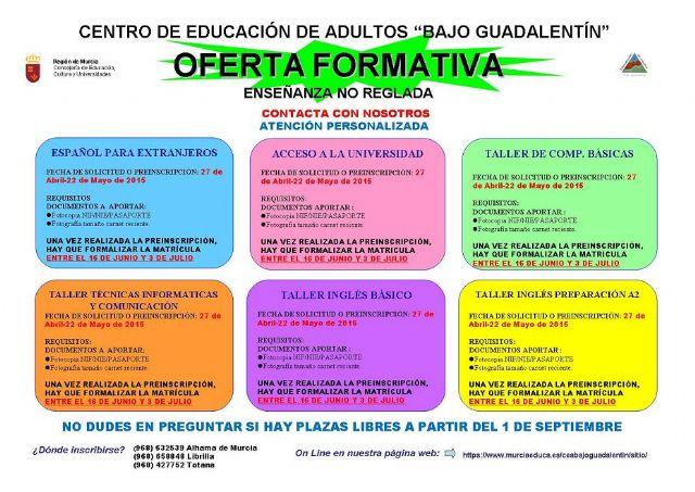 Ya se conoce la oferta formativa del Centro de Educación de Adultos