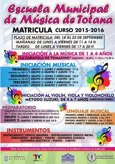 El plazo de matrícula de la Escuela de Música de Totana para el curso 2015/2016 será del 14 al 25 de septiembre, ambos inclusive