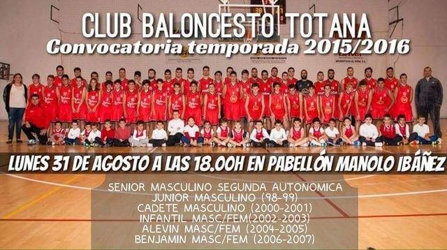El Club Baloncesto Totana comienza una nueva temporada el próximo lunes
