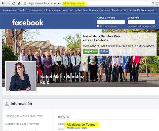 Isabel María Sánchez Ruiz sigue siendo alcaldesa de Totana, según su Facebook, Foto 1