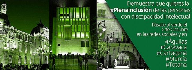 Murcia y toda España se ilumina de verde por la #Plenainclusi�n de las personas con discapacidad intelectual, Foto 1